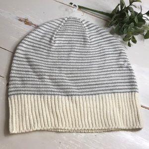 Gray/cream striped winter hat